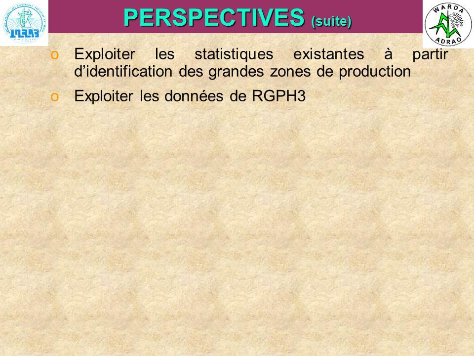 ARI Steering Committee, Cotonou, 23- 25 April, 2007 PERSPECTIVES (suite) oExploiter les statistiques existantes à partir didentification des grandes z