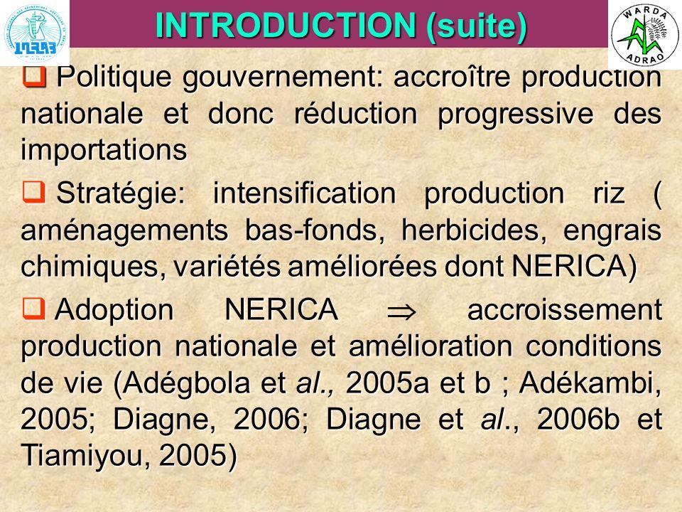 ARI Steering Committee, Cotonou, 23- 25 April, 2007 Politique gouvernement: accroître production nationale et donc réduction progressive des importati
