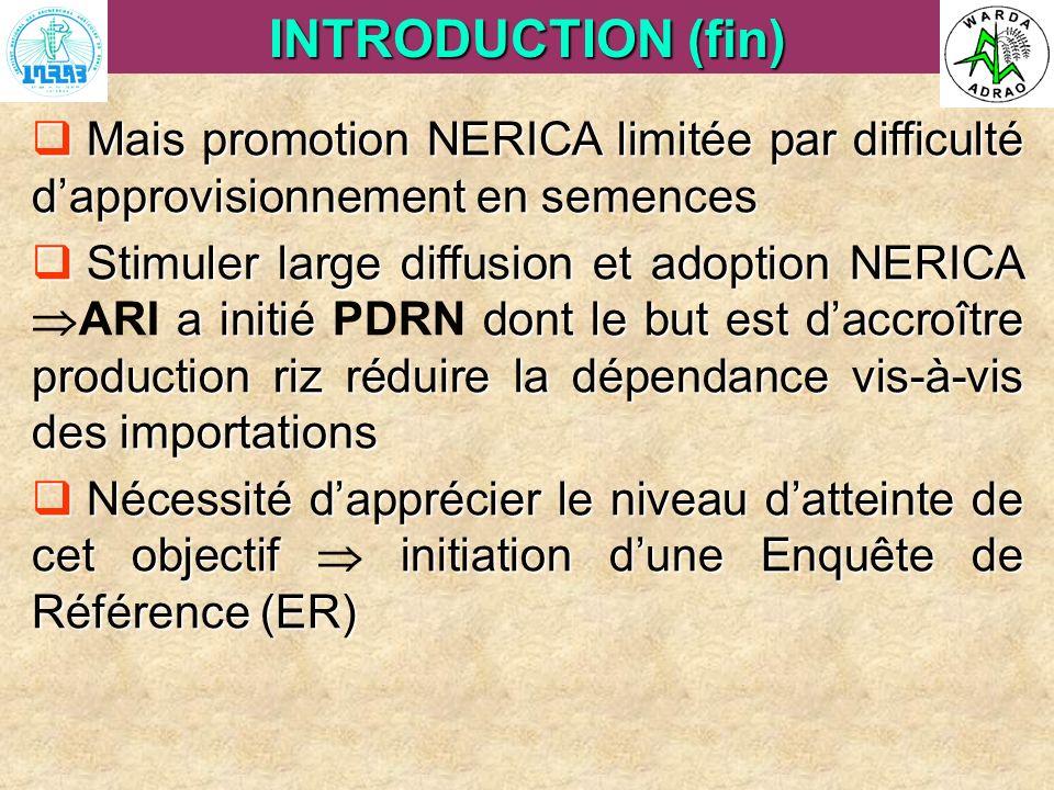ARI Steering Committee, Cotonou, 23- 25 April, 2007 INTRODUCTION (fin) Mais promotion NERICA limitée par difficulté dapprovisionnement en semences Mai