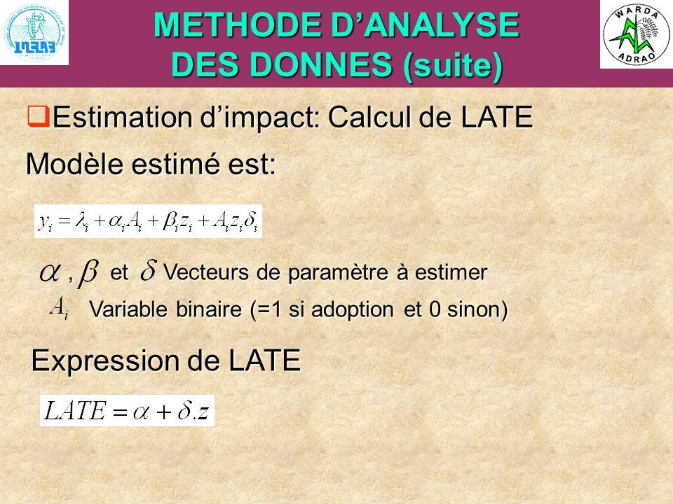 ARI Steering Committee, Cotonou, 23- 25 April, 2007 METHODE DANALYSE DES DONNES (suite) Estimation dimpact: Calcul de LATE Estimation dimpact: Calcul