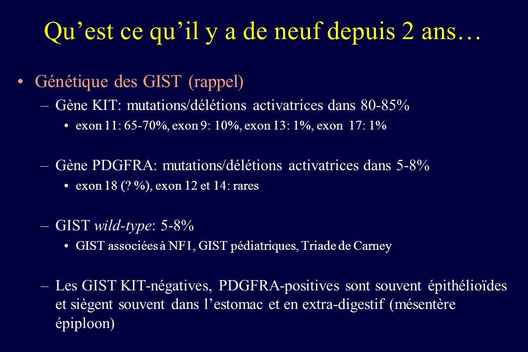 Quest ce quil y a de neuf depuis 2 ans… Réponse au traitement par imatinib dans les GIST –Meilleure réponse: KIT exon 11 > KIT exon 9 > wild-type –GIST avec mutations KIT exon 9: meilleure réponse si administration de 800 mg/j imatinib (à la place de 400 mg/j) –GIST avec mutations sur PDGFRA, résidu D842V: résistance primaire au traitement par imatinib –GIST wild-type et KIT exon 9 muté: meilleure réponse au sunitinib demblée que KIT exon 11 muté