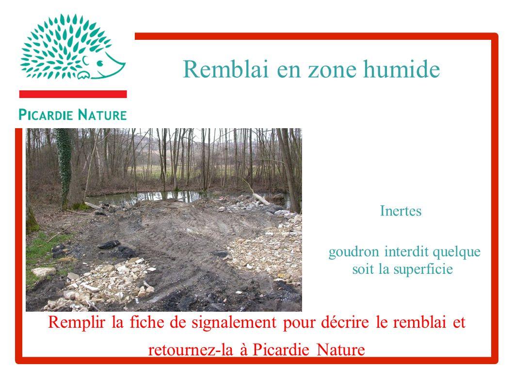 goudron interdit quelque soit la superficie Remblai en zone humide Inertes Remplir la fiche de signalement pour décrire le remblai et retournez-la à Picardie Nature