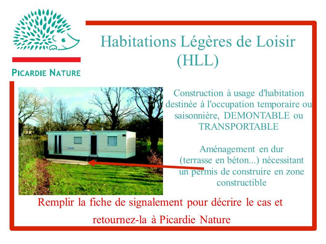 Aménagement en dur (terrasse en béton...) nécessitant un permis de construire en zone constructible Habitations Légères de Loisir (HLL) Construction à