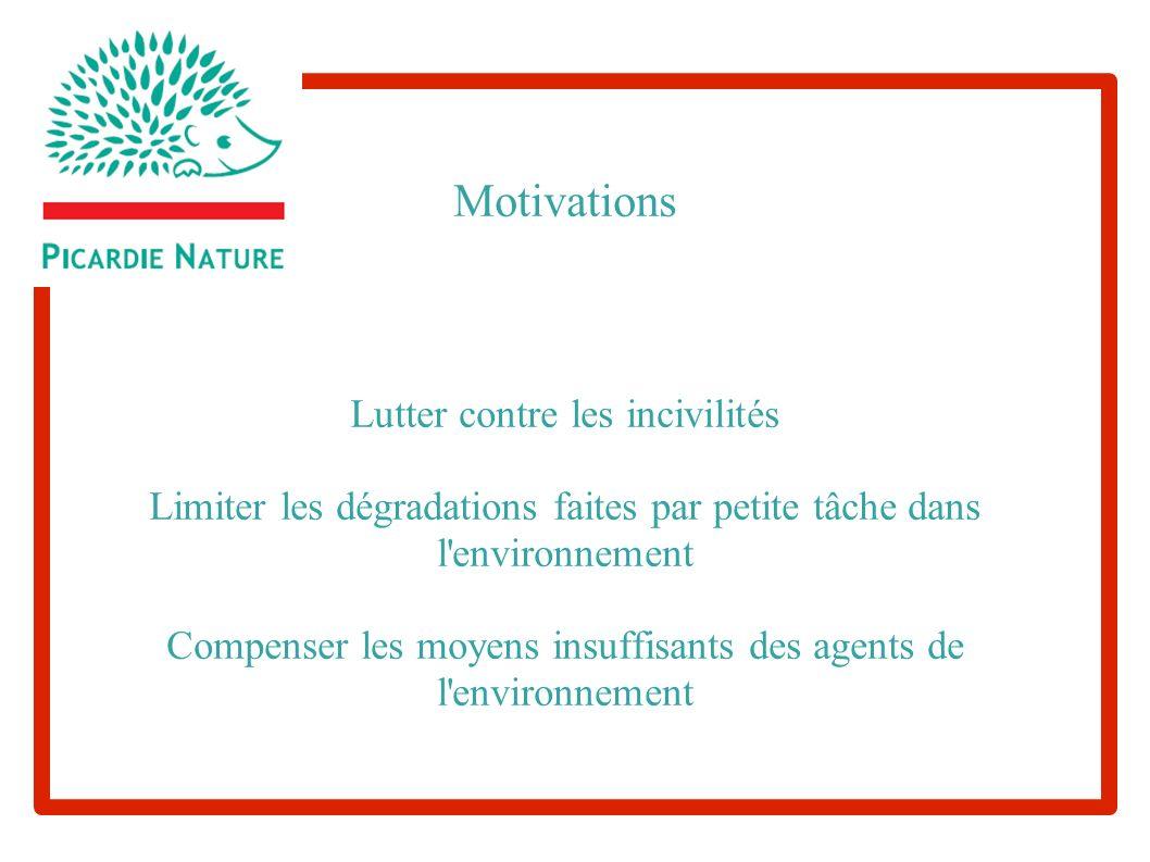 Motivations Lutter contre les incivilités Limiter les dégradations faites par petite tâche dans l environnement Compenser les moyens insuffisants des agents de l environnement agent