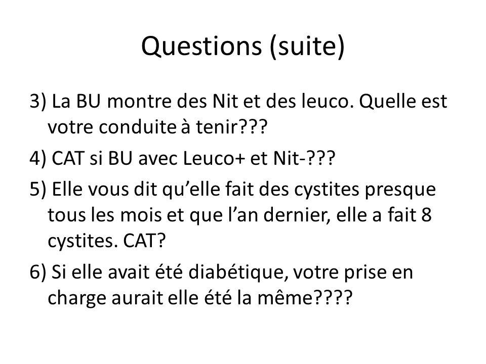 Questions (suite) 3) La BU montre des Nit et des leuco.