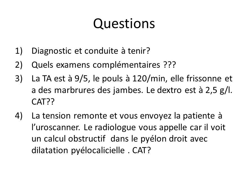 Questions 1)Diagnostic et conduite à tenir.2)Quels examens complémentaires ??.