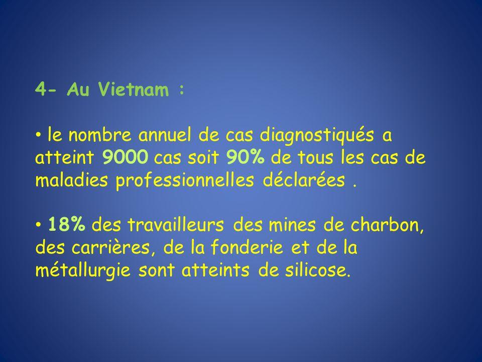 4- Au Vietnam : le nombre annuel de cas diagnostiqués a atteint 9000 cas soit 90% de tous les cas de maladies professionnelles déclarées. 18% des trav
