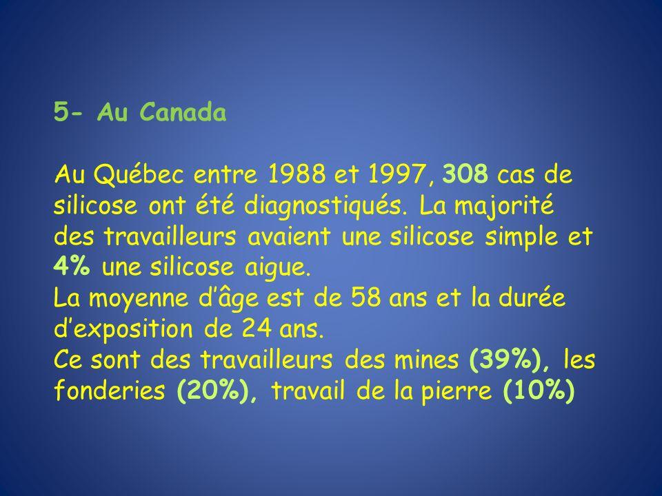 5- Au Canada Au Québec entre 1988 et 1997, 308 cas de silicose ont été diagnostiqués. La majorité des travailleurs avaient une silicose simple et 4% u