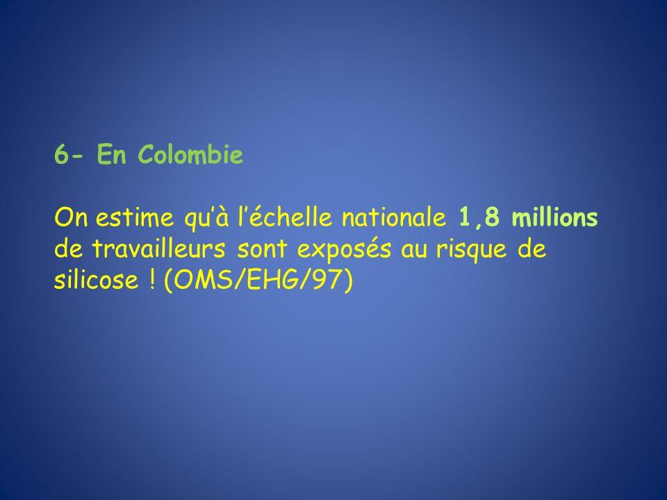 6- En Colombie On estime quà léchelle nationale 1,8 millions de travailleurs sont exposés au risque de silicose ! (OMS/EHG/97)