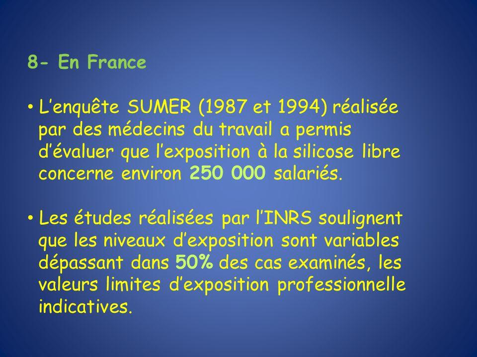 8- En France Lenquête SUMER (1987 et 1994) réalisée par des médecins du travail a permis dévaluer que lexposition à la silicose libre concerne environ
