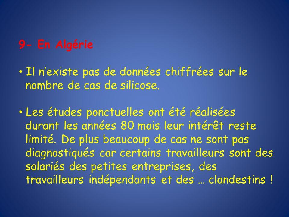 9- En Algérie Il nexiste pas de données chiffrées sur le nombre de cas de silicose. Les études ponctuelles ont été réalisées durant les années 80 mais