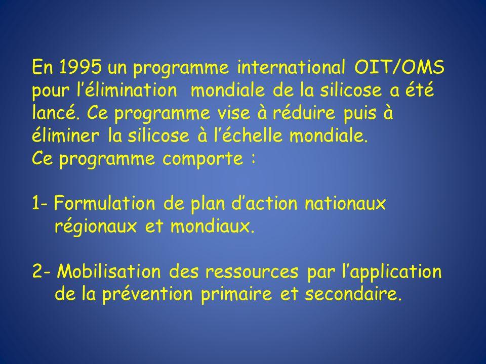 En 1995 un programme international OIT/OMS pour lélimination mondiale de la silicose a été lancé. Ce programme vise à réduire puis à éliminer la silic