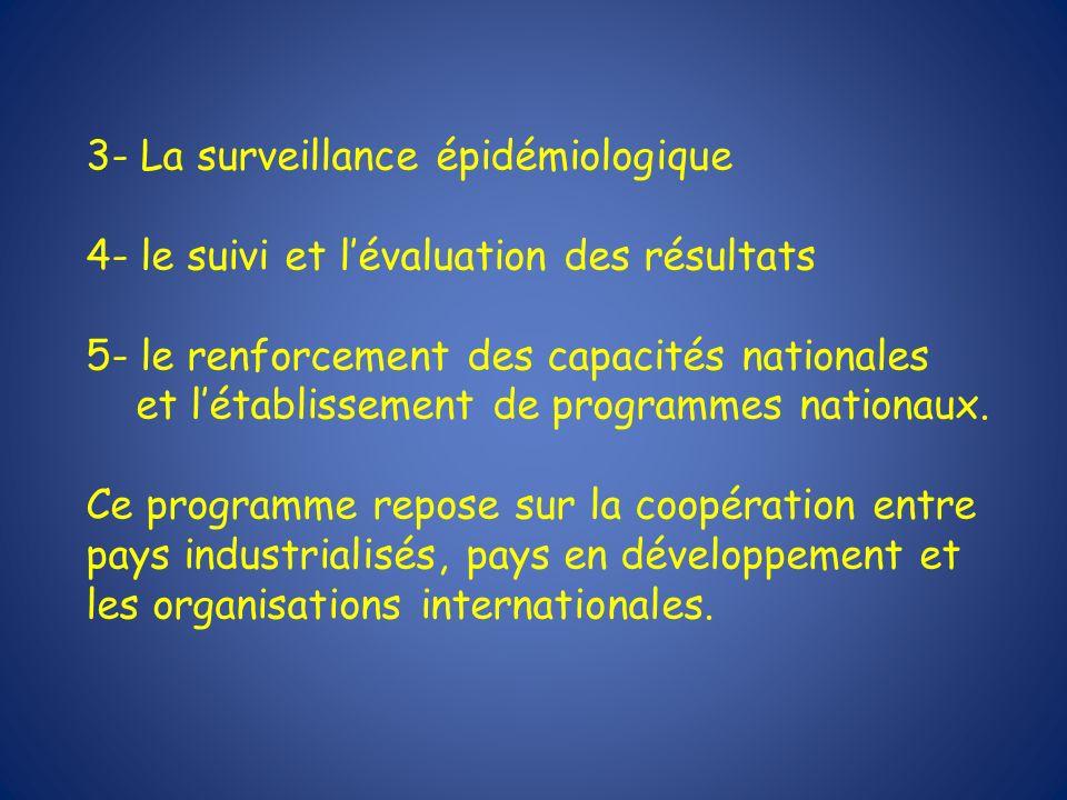3- La surveillance épidémiologique 4- le suivi et lévaluation des résultats 5- le renforcement des capacités nationales et létablissement de programme