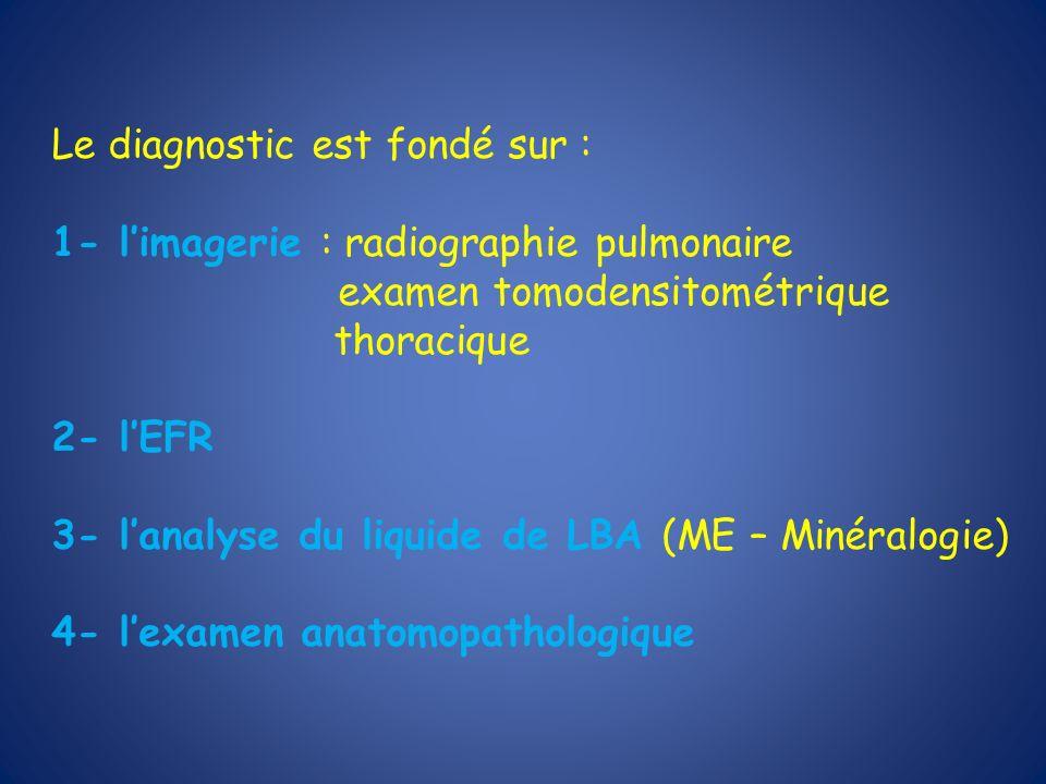 Le diagnostic est fondé sur : 1- limagerie : radiographie pulmonaire examen tomodensitométrique thoracique 2- lEFR 3- lanalyse du liquide de LBA (ME –