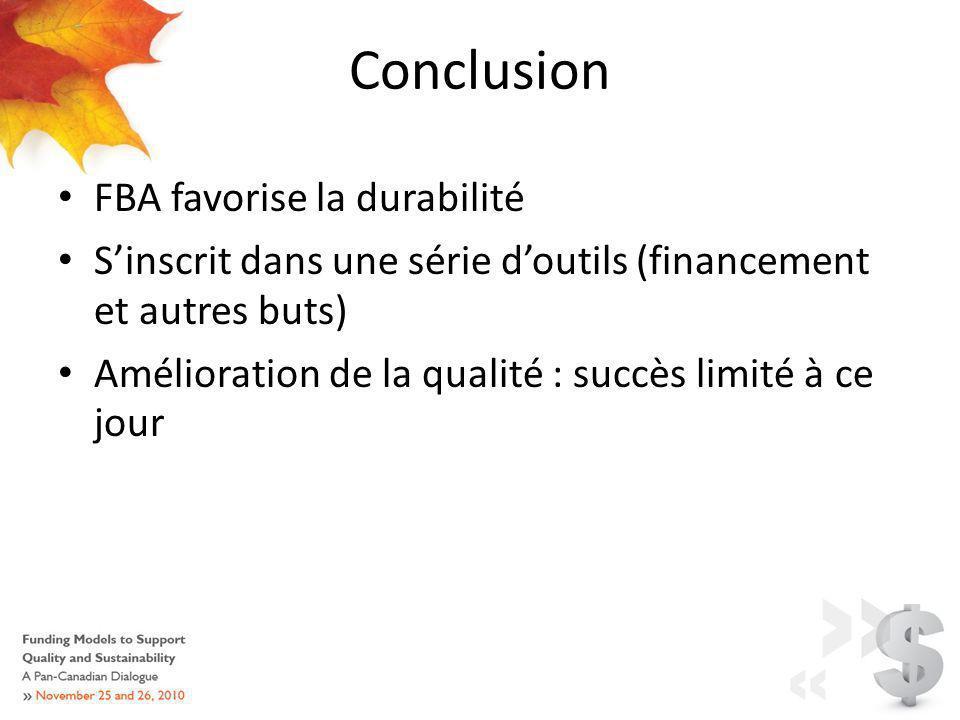 Conclusion FBA favorise la durabilité Sinscrit dans une série doutils (financement et autres buts) Amélioration de la qualité : succès limité à ce jour