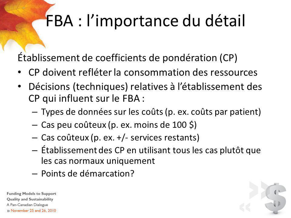 FBA : limportance du détail Établissement de coefficients de pondération (CP) CP doivent refléter la consommation des ressources Décisions (techniques) relatives à létablissement des CP qui influent sur le FBA : – Types de données sur les coûts (p.