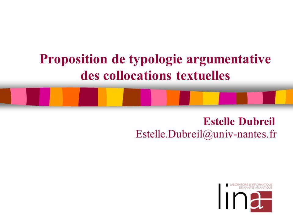 Proposition de typologie argumentative des collocations textuelles Estelle Dubreil Estelle.Dubreil@univ-nantes.fr