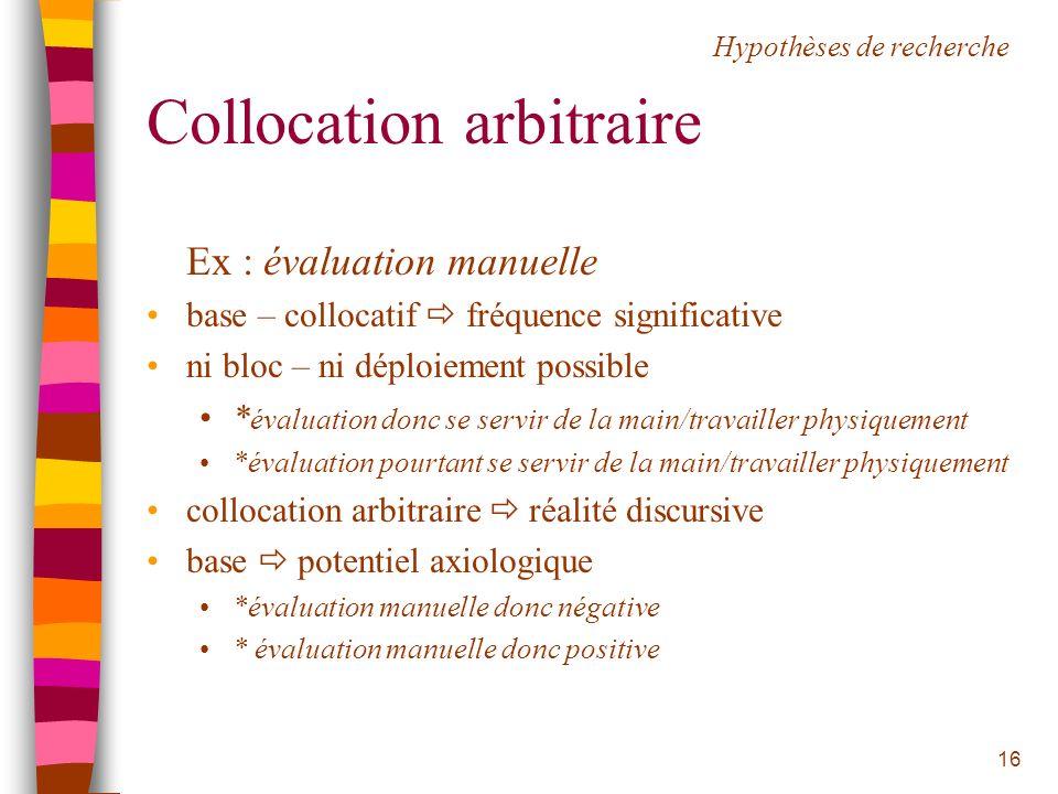 16 Collocation arbitraire Ex : évaluation manuelle base – collocatif fréquence significative ni bloc – ni déploiement possible * évaluation donc se se