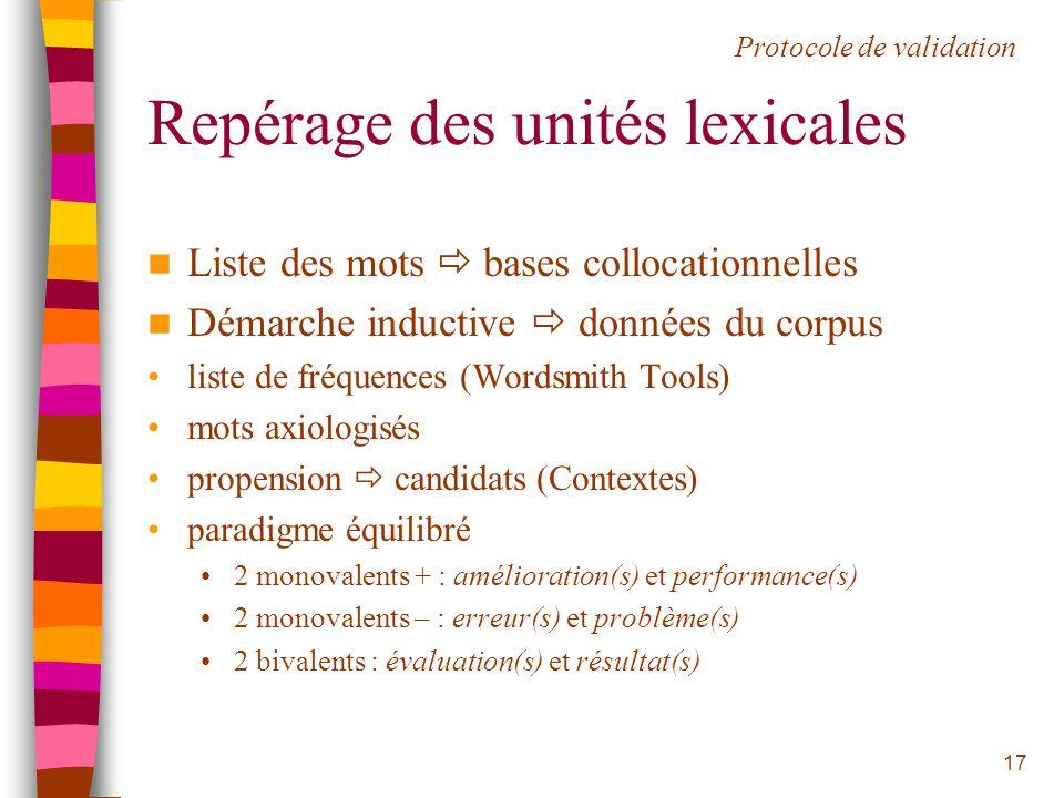 17 Repérage des unités lexicales Liste des mots bases collocationnelles Démarche inductive données du corpus liste de fréquences (Wordsmith Tools) mot