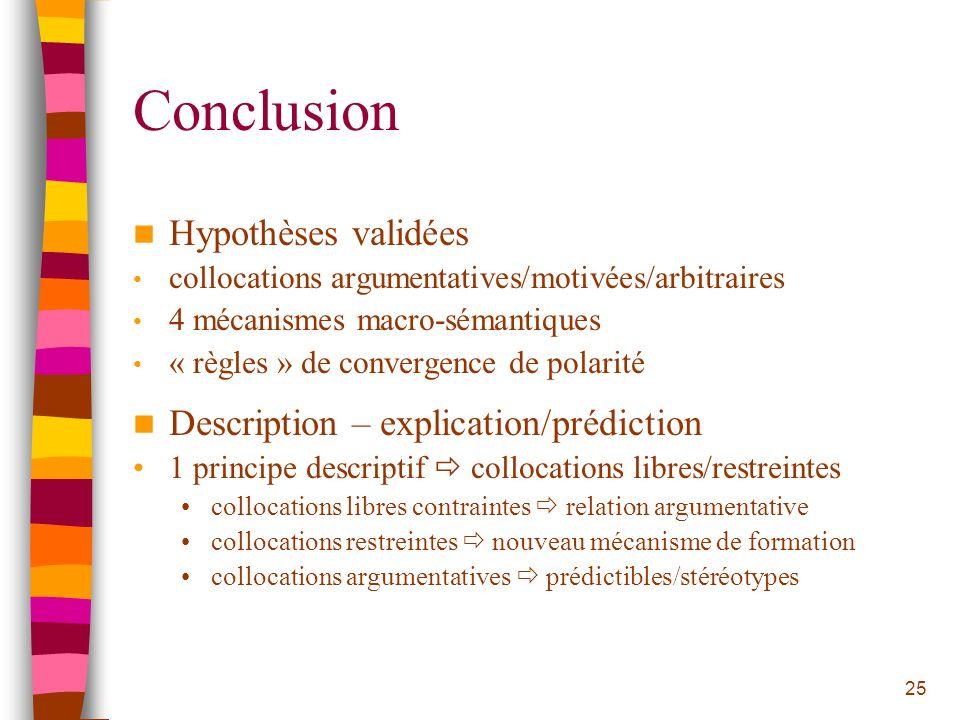 25 Conclusion Hypothèses validées collocations argumentatives/motivées/arbitraires 4 mécanismes macro-sémantiques « règles » de convergence de polarit
