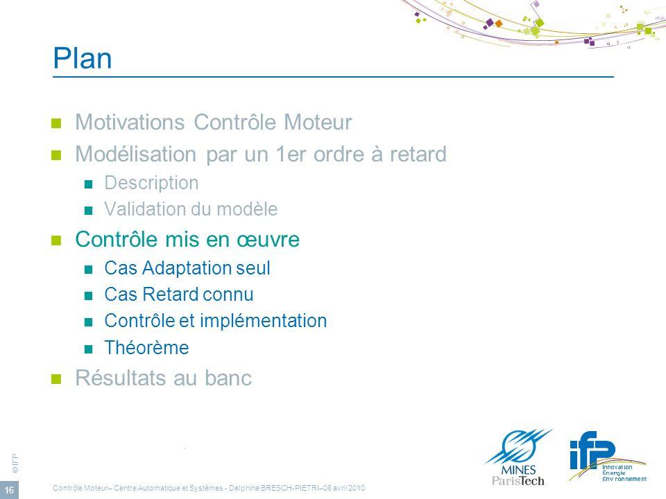 © IFP 16 Plan Motivations Contrôle Moteur Modélisation par un 1er ordre à retard Description Validation du modèle Contrôle mis en œuvre Cas Adaptation