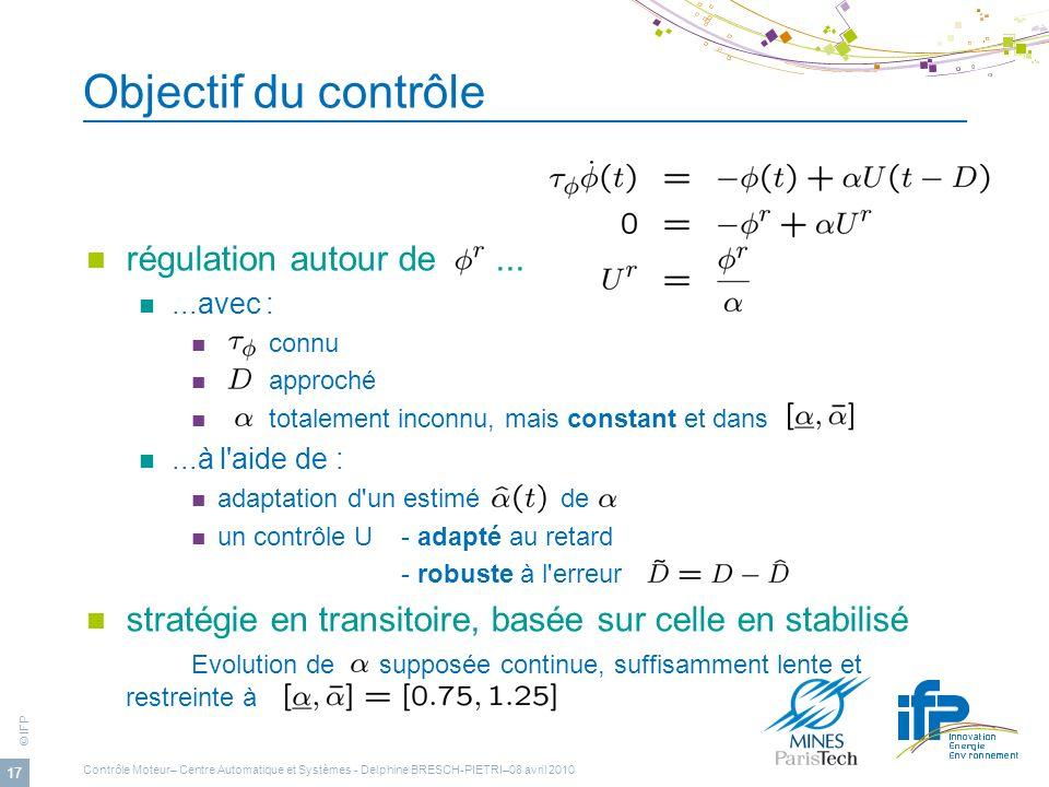 © IFP 17 Objectif du contrôle régulation autour de......avec : connu approché totalement inconnu, mais constant et dans...à l'aide de : adaptation d'u