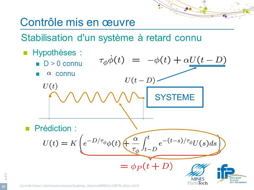 © IFP 20 Contrôle mis en œuvre Stabilisation d'un système à retard connu Hypothèses : D > 0 connu connu SYSTEME Prédiction : Contrôle Moteur– Centre A