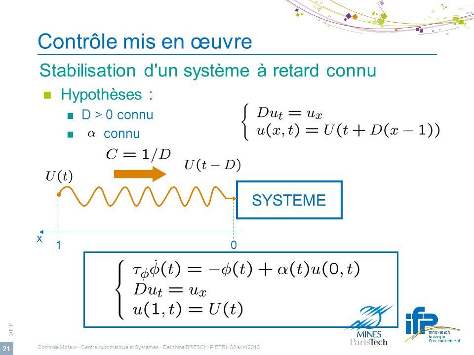 © IFP 21 Contrôle mis en œuvre Stabilisation d'un système à retard connu Hypothèses : D > 0 connu connu SYSTEME 10 x Contrôle Moteur– Centre Automatiq