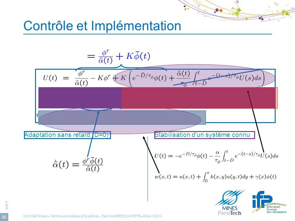 © IFP 26 Contrôle et Implémentation Stabilisation d'un système connuAdaptation sans retard (D=0) Contrôle Moteur– Centre Automatique et Systèmes - Del