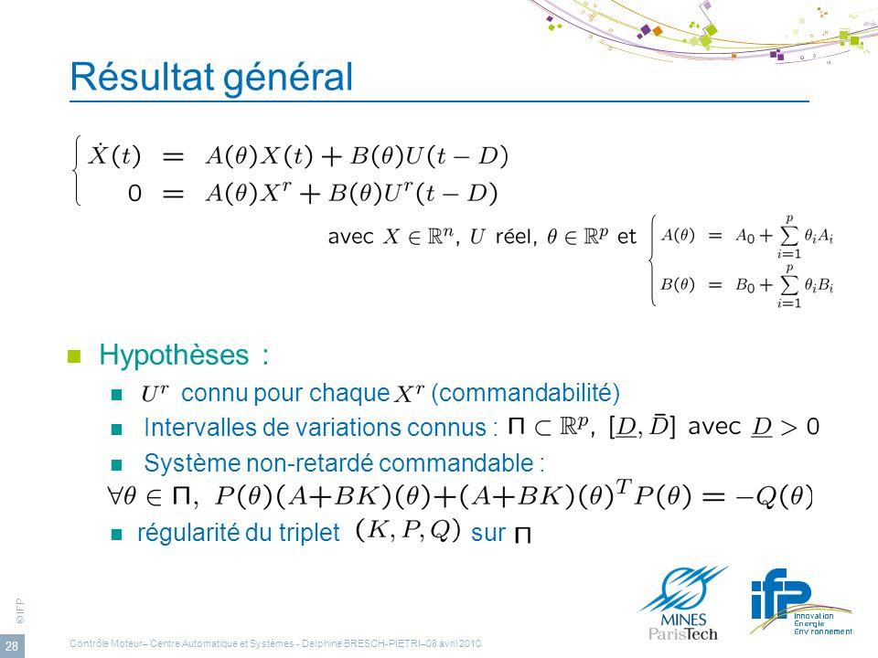 © IFP 28 Résultat général Hypothèses : connu pour chaque (commandabilité) Intervalles de variations connus : Système non-retardé commandable : régular