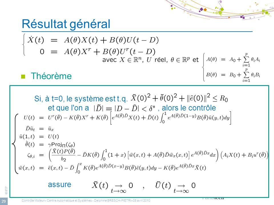 © IFP 29 Résultat général Théorème Si, à t=0, le système est t.q. et que l'on a, alors le contrôle assure Contrôle Moteur– Centre Automatique et Systè