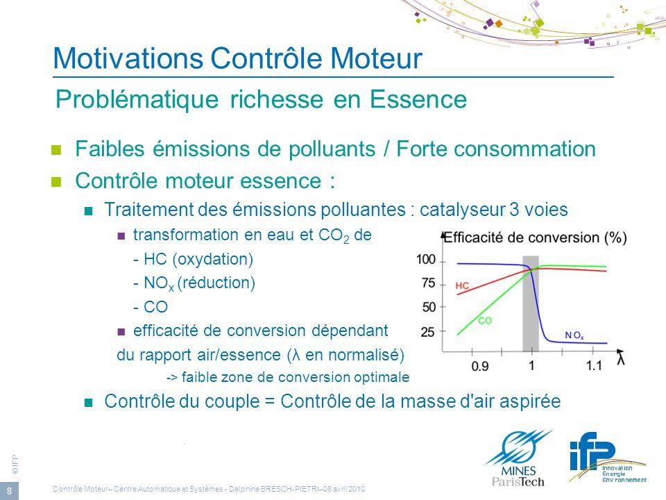 © IFP 8 Motivations Contrôle Moteur Faibles émissions de polluants / Forte consommation Contrôle moteur essence : Traitement des émissions polluantes