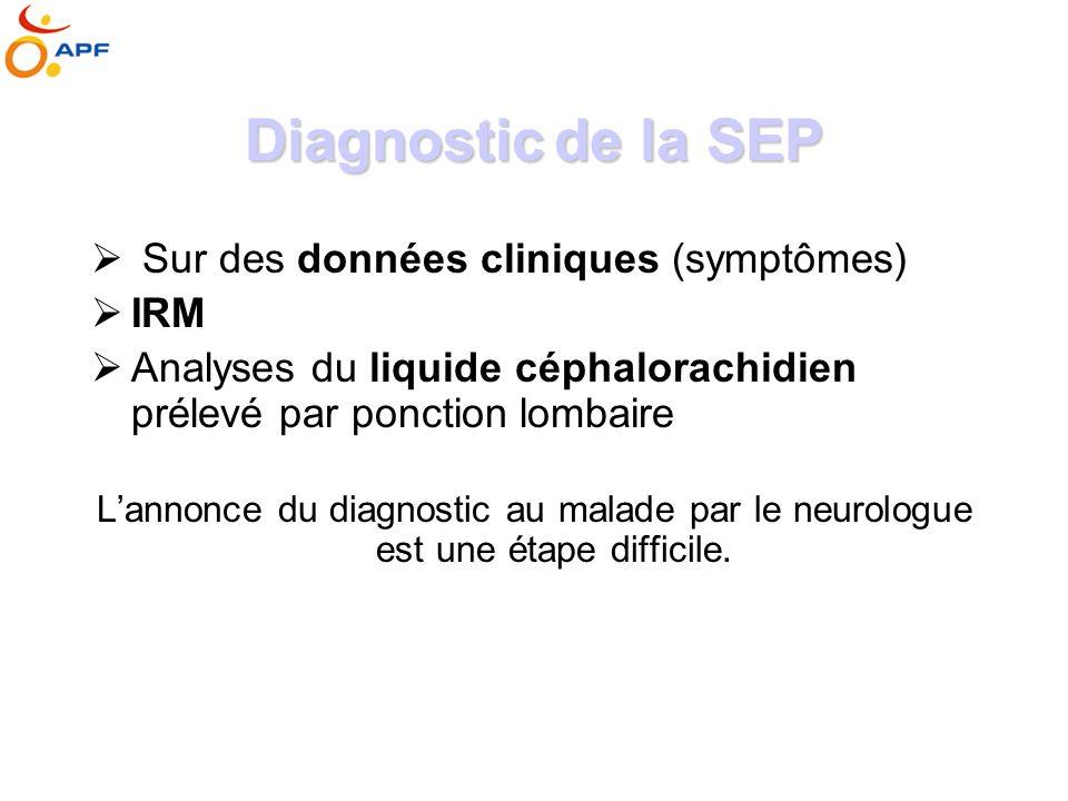 Diagnosticde la SEP Diagnostic de la SEP Sur des données cliniques (symptômes) IRM Analyses du liquide céphalorachidien prélevé par ponction lombaire Lannonce du diagnostic au malade par le neurologue est une étape difficile.