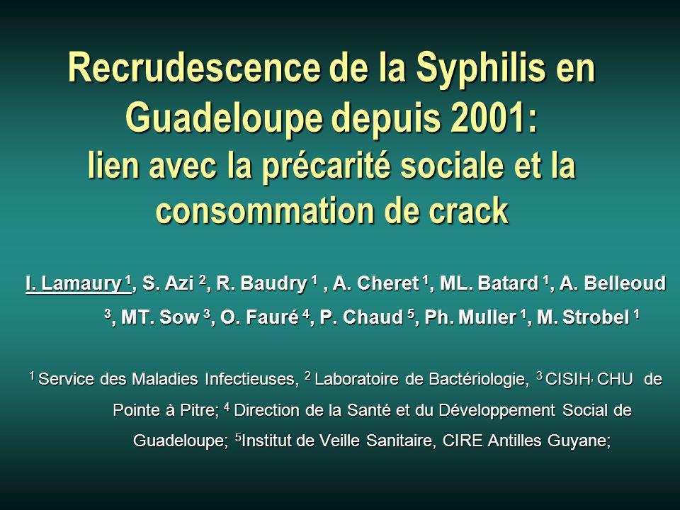 Recrudescence de la Syphilis en Guadeloupe depuis 2001: lien avec la précarité sociale et la consommation de crack I.