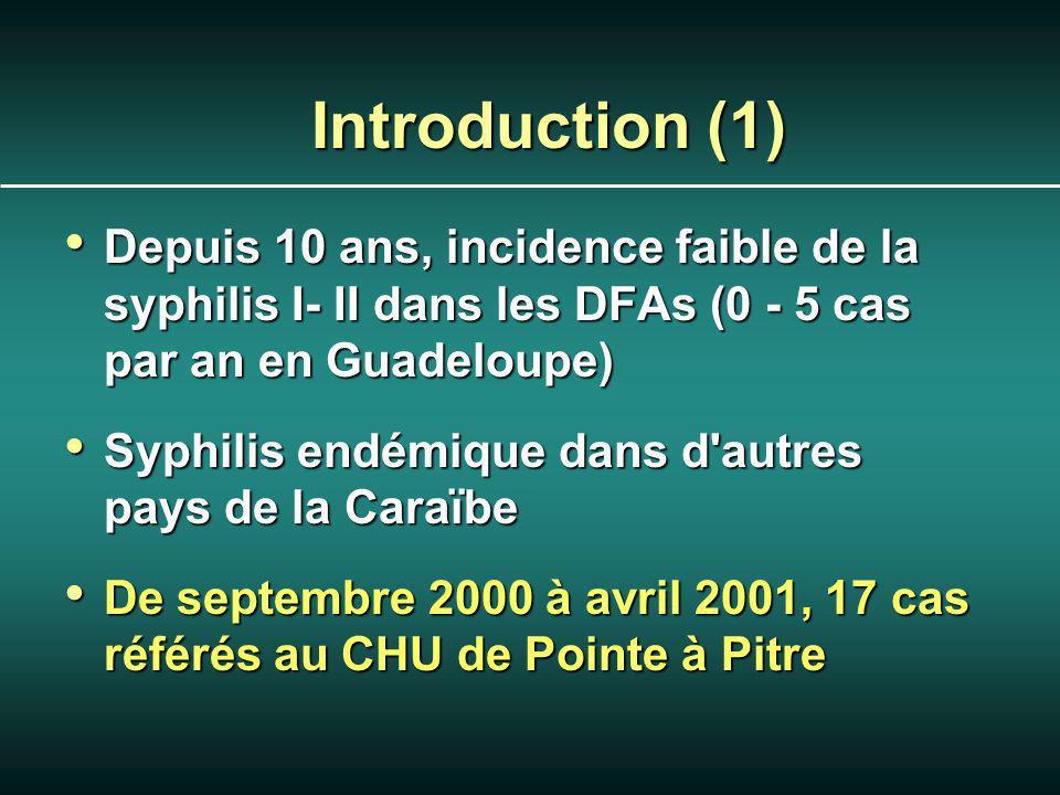 Introduction (1) Depuis 10 ans, incidence faible de la syphilis I- II dans les DFAs (0 - 5 cas par an en Guadeloupe) Depuis 10 ans, incidence faible de la syphilis I- II dans les DFAs (0 - 5 cas par an en Guadeloupe) Syphilis endémique dans d autres pays de la Caraïbe Syphilis endémique dans d autres pays de la Caraïbe De septembre 2000 à avril 2001, 17 cas référés au CHU de Pointe à Pitre De septembre 2000 à avril 2001, 17 cas référés au CHU de Pointe à Pitre