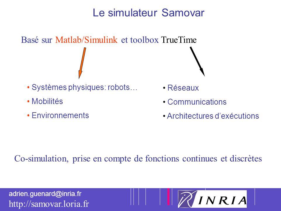4 adrien.guenard@inria.fr http://samovar.loria.fr Le simulateur Samovar Basé sur Matlab/Simulink et toolbox TrueTime Systèmes physiques: robots… Mobil