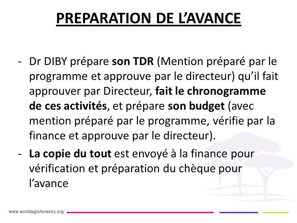 PREPARATION DE LAVANCE -Dr DIBY prépare son TDR (Mention préparé par le programme et approuve par le directeur) quil fait approuver par Directeur, fait le chronogramme de ces activités, et prépare son budget (avec mention préparé par le programme, vérifie par la finance et approuve par le directeur).