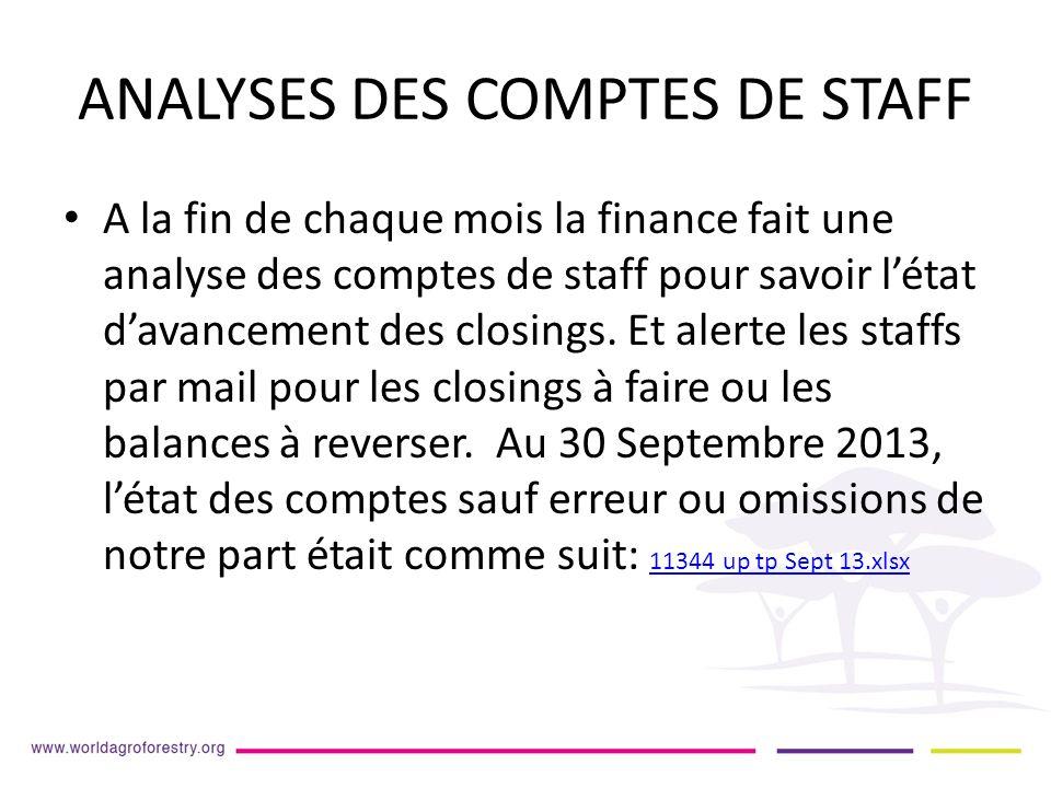 ANALYSES DES COMPTES DE STAFF A la fin de chaque mois la finance fait une analyse des comptes de staff pour savoir létat davancement des closings.