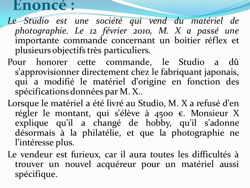 Enoncé : Le Studio est une société qui vend du matériel de photographie.