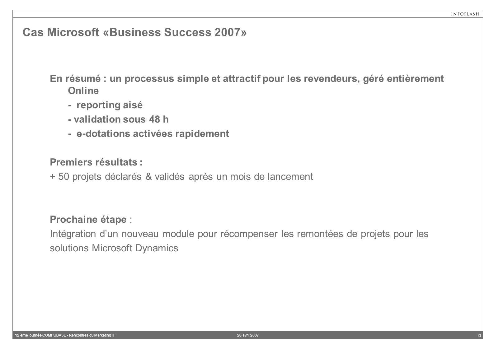 26 avril 200712 ème journée COMPUBASE - Rencontres du Marketing IT 13 Cas Microsoft «Business Success 2007» En résumé : un processus simple et attractif pour les revendeurs, géré entièrement Online - reporting aisé - validation sous 48 h - e-dotations activées rapidement Premiers résultats : + 50 projets déclarés & validés après un mois de lancement Prochaine étape : Intégration dun nouveau module pour récompenser les remontées de projets pour les solutions Microsoft Dynamics
