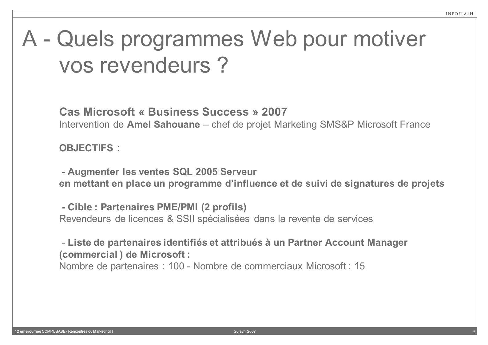 26 avril 200712 ème journée COMPUBASE - Rencontres du Marketing IT 5 A - Quels programmes Web pour motiver vos revendeurs .