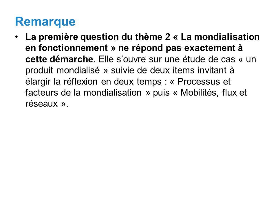 Remarque La première question du thème 2 « La mondialisation en fonctionnement » ne répond pas exactement à cette démarche.