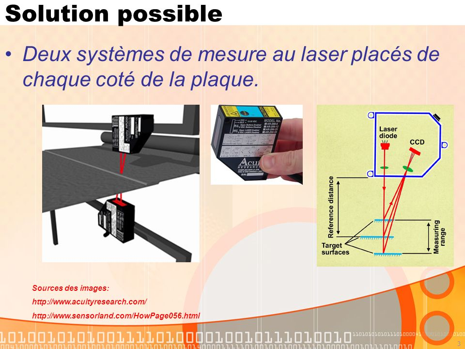 4 Capteur laser Spécifications: Standoff = 21 mm Span = 6.35 mm Resolution = 0.0019 mm Linearity/Accuracy = ±0.2% Outputs options: 4-20 mA 0-10 V RS-232C Sources des images: http://www.acuityresearch.com/