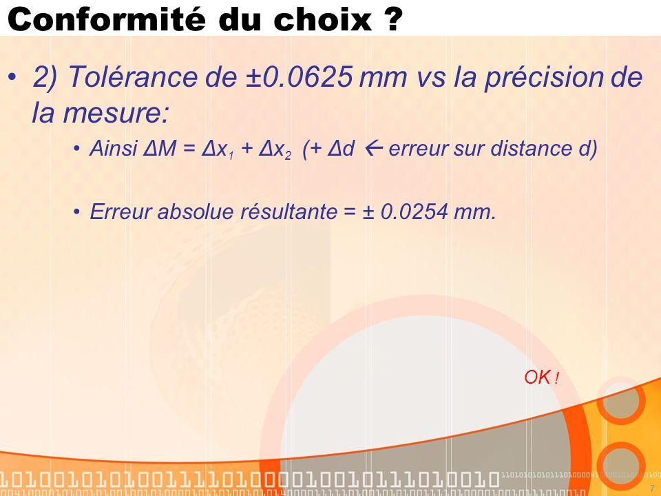7 Conformité du choix ? 2) Tolérance de ±0.0625 mm vs la précision de la mesure: Ainsi ΔM = Δx 1 + Δx 2 (+ Δd erreur sur distance d) Erreur absolue ré