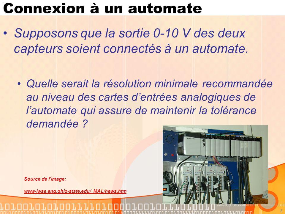 8 Connexion à un automate Supposons que la sortie 0-10 V des deux capteurs soient connectés à un automate. Quelle serait la résolution minimale recomm