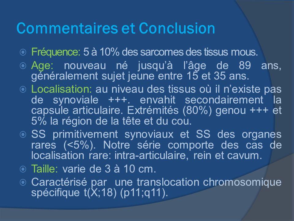 Commentaires et Conclusion Examen histologique: monophasique ou biphasique à composante fusocellulaire et épithéliale dans des proportions variables.