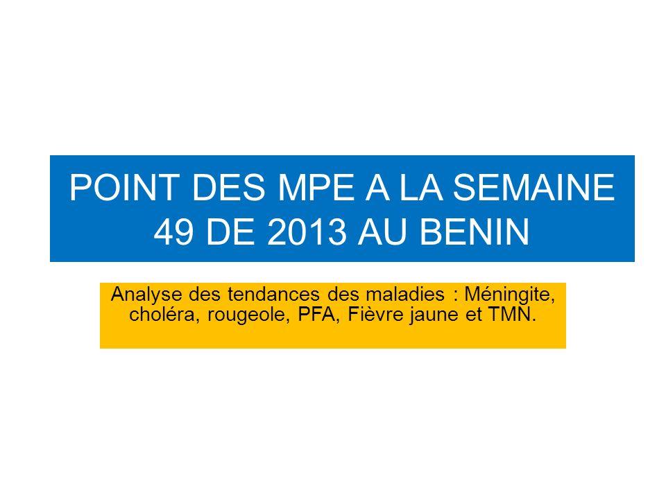 POINT DES MPE A LA SEMAINE 49 DE 2013 AU BENIN Analyse des tendances des maladies : Méningite, choléra, rougeole, PFA, Fièvre jaune et TMN.