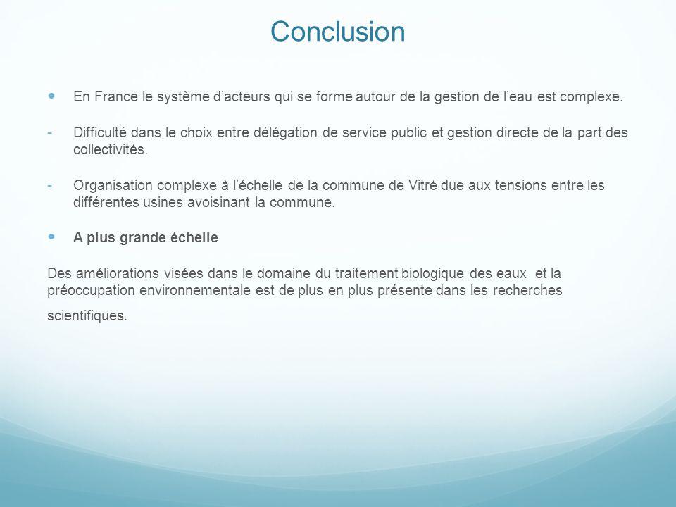 Conclusion En France le système dacteurs qui se forme autour de la gestion de leau est complexe. Difficulté dans le choix entre délégation de service