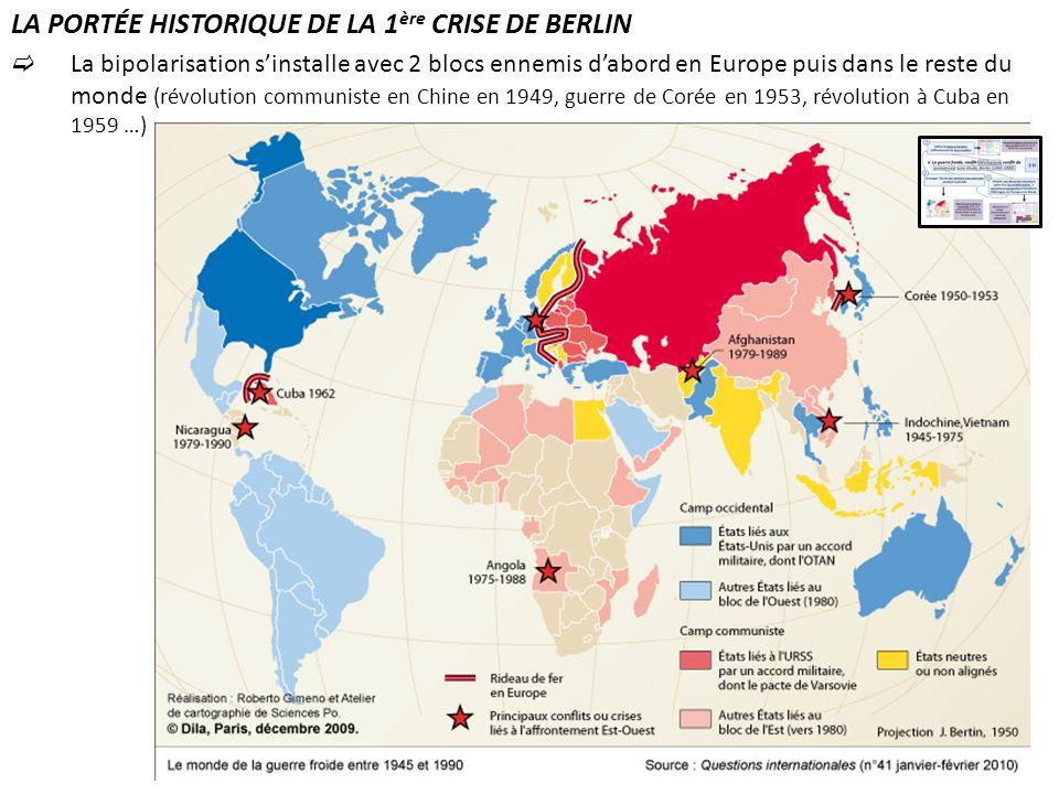 LA PORTÉE HISTORIQUE DE LA 1 ère CRISE DE BERLIN La bipolarisation sinstalle avec 2 blocs ennemis dabord en Europe puis dans le reste du monde (révolu