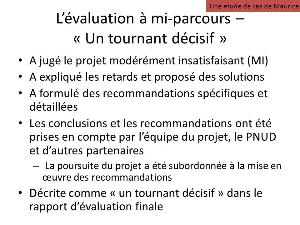 Lévaluation à mi-parcours – « Un tournant décisif » A jugé le projet modérément insatisfaisant (MI) A expliqué les retards et proposé des solutions A formulé des recommandations spécifiques et détaillées Les conclusions et les recommandations ont été prises en compte par léquipe du projet, le PNUD et dautres partenaires – La poursuite du projet a été subordonnée à la mise en œuvre des recommandations Décrite comme « un tournant décisif » dans le rapport dévaluation finale Une étude de cas de Maurice